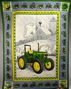 New Handmade Baby Quilt / Wall Hanging Featuring John Deere 7410 Tractor 45 H