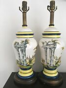 Frederick Cooper Pair Of Porcelain Lamps W/ Roman Columns Countryside Design