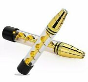 Glass Tube Twisty Blunt Smoking Pipe - Gold - Fast Shipping From Usa