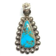Navajo Handmade Sterling Silver Number 8 Turquoise Pendant - Mary Ann Spencer
