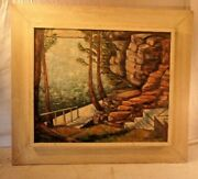 Vintage Mid Century Frame With Painting 27 3/4 X 31 3/4 Holds 20x24 Molding 4