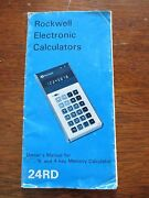 1975 Rockwell Electronic Calculators Owner's Manual Memory 24rd Foldout Booklet