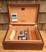 Nice Wooden Tobacco Mjm Humidor Cigar Box With Content Thermometer Cases
