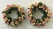 Small Beaded Pink/light Yellow Candle Rings 1 1/2 Opening - Set Of 2