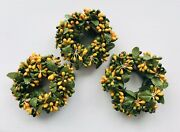 Small Beaded Candle Rings Yellow/orange/green 1 Opening - Set Of 3