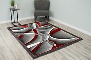 Star Polyester Modern Wave Contemporary Abstract Area Rug Design 1310