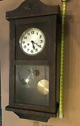 Antique Large Wall Clock Parts Repair Oak With Unknown Movement