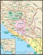 Southern California Road Map Poster Picture Photo Banner Losangeles Pacific 4566