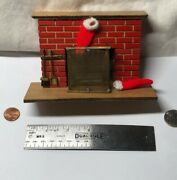112 Vintage Doll House Miniature Furniture Fireplace Wooden With Stockings S