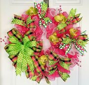 Large Hot Pink And Lime Green Deco Mesh And Ribbon Front Door Wreath With Bow