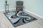 Star Polyester Modern Wave Contemporary Abstract Area Rug Design 1308