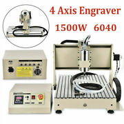 1.5kw 4 Axis Usb Cnc 6040t Router Milling Engraver Pcb Wood Drilling Machine Vfd