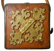 Rare Wwi British B.a.t.and S. Co. Antique Leather Military Sight Bag W/dec. Brass
