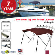Oceansouth 3 Bow Bimini Top With Rocket Launcher 4ft Length 83- 90 Maroon
