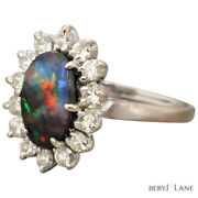 Vintage 18ct White Gold Australian Boulder Opal And Diamond Cluster Ring Size Q/8+