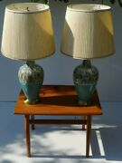 1960s Mid Century Modern Pair Of Ceramic And Walnut Table Lamps Original Shades