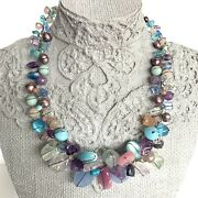 Abra Couture Cluster Necklace Rose Quartz Amethyst Crystal Pearl Beads