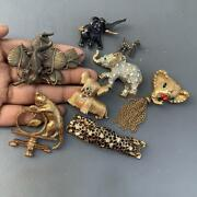 Antique Vintage Figural Figurative Pin Brooch Collection Lot Of 8