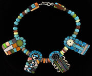 4 Multi-stone Inlay Tabs And Multi-stone Bead Necklace By Mary L. Tafoya