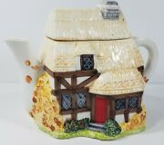 English Cottage 8 Inch Collectible Ceramic Teapot Country Home Decor