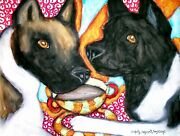 Akita Drinking Coffee Dog Collectible Signed 4x6 Art Print By Artist Ksams
