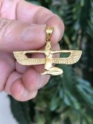 Detailed Hand Made 18k Gold Egyptian Queen Winged Isis Solid Heavy