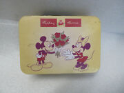 Vintage Disney Classic Mickey And Minnie Mouse Flowers Tin Lunchbox