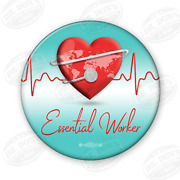 Health Care Essential Workers Of America 1.25 Pin Back Button / Ubew-6-button