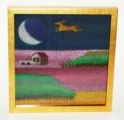Hawaii Framed Oil Pastel Painting A Dog Chasing The Moon By Noelani Block Brb