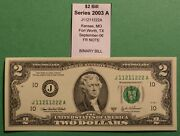 2003a Two Dollar Note 2 Fancy Binary Serial Number J11211222a