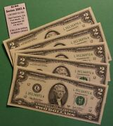 2003a Two Dollar Note 2 5 Bill Serial Number Run