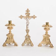 Home Church / Chapel Altar Set. Solid Brass Altar Cross And Candle Stick Set 175