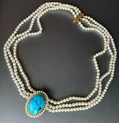 Blue Turquoise Cabochon 18k Yellow Gold 3 Strand 3.5-4 Mm Pearl Choker Necklace
