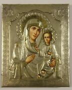 Our Lady Of Iveron Russian Orthodox Icon In Metal Riza Oklad