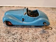 Vintage Schuco Examico 4001 Tin Litho Wind Up With Key Germany Clear Blue Car