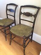 Pair Antique Bentwood Folk Art Stencil Painted Chairs Early Hitchcock Rush Seat