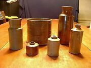 Antique Lot Of 6 Stoneware Jars, Bottles And Storage Containers