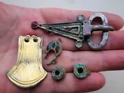 Lot Merovingian Frankish Silver-gilded Buckle-red Plate Garnets Other Decoration