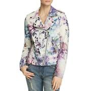 Bagatelle Womens Watercolor Floral White Motorcycle Jacket Outerwear M