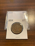 1854-p Braided Hair Large Cent 1c Extra Fine Xf