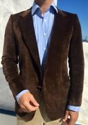 Brioni Menand039s Jacket Brown Velvet Size 38 Uk Made In Italy Vintage Rrp 3500
