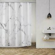 Grey And White Marble Bathroom Shower Curtain Polyester Fabric With Hook 71x71