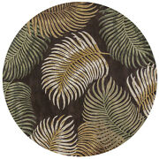 Rugs - Na Pali Tropical Ferns Hand Tufted Wool Rug - Espresso - 7and0396 Round