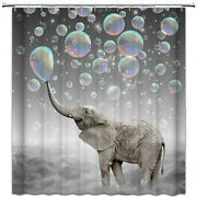 Bubbles Elephant Shower Curtain Polyester Fabric Grey Bathroom Decor With Hooks