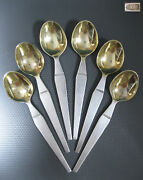 Ussr 6 Coffee Spoons Silver 875 Star Stamp Gold Plated Soviet Russian