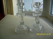 2 Vintage Eapg Glass Crucifix Cross Altar Candle Holders 9 3/4 Tall