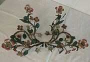 Gorgeous Vtg Pair Colorful Spring Flowers Shabby Chic Italian Tole Candleabra