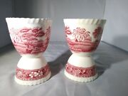 Vintage Copeland Spode Red/pink Tower Double Egg Cups Set