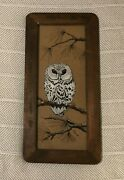 Vintage Wood Framed White Owl Painting On Glass Wall Art Country Rustic Euc
