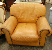 Vintage Italian Large Camel Leather Club Lounge Chair